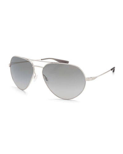 Commodore Photochromic Aviator Sunglasses, Silver/Moonstruck