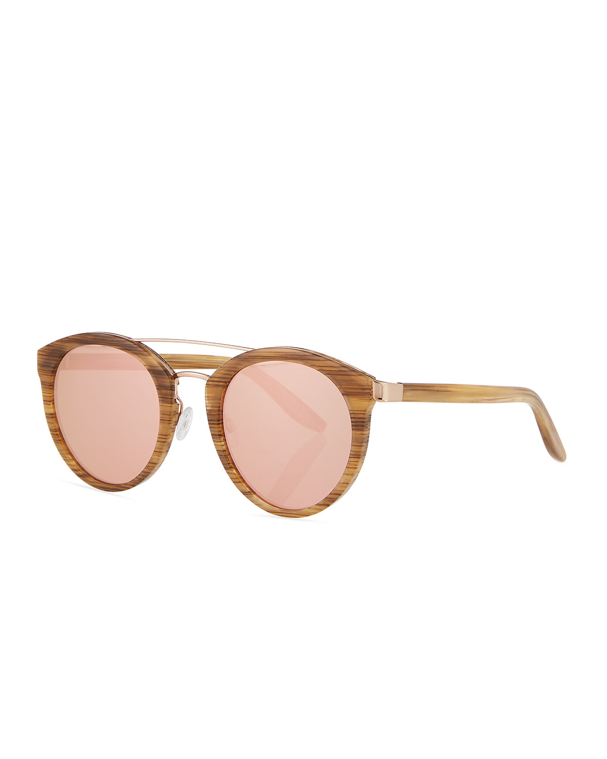 Barton Perreira DALZIEL ROUND UNIVERSAL-FIT SUNGLASSES, HORN/ROSE GOLD/LAVENDER