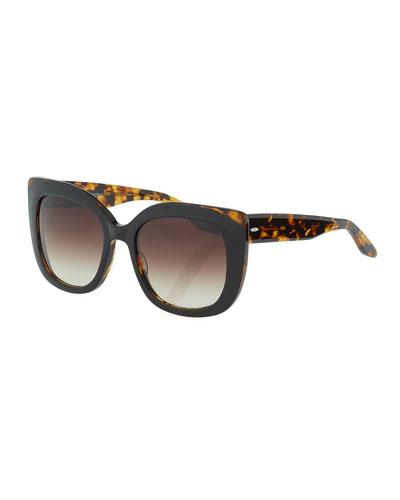 Olina Chunky Cat-Eye Sunglasses, Black Tortoise/Smoky Topaz