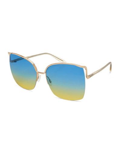 Satdha Semi-Rimless Square Sunglasses, Gold/Champagne/Aqua-Sol