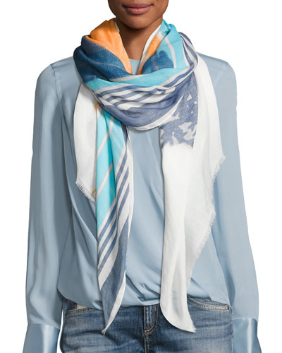 Striped Sunset Scarf, White Pattern