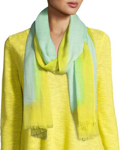 Neon Borders Silk Wool Scarf, Pale Aqua