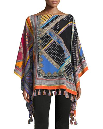 Paisley Grid Patchwork Silk Poncho, Purple/Orange/Blue/Black/White