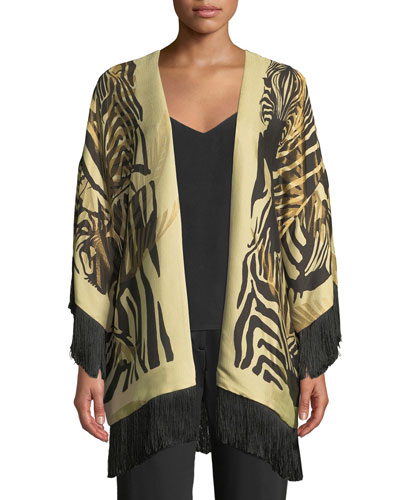 Reversible Paisley Boudoir Jacket with Fringe, Black