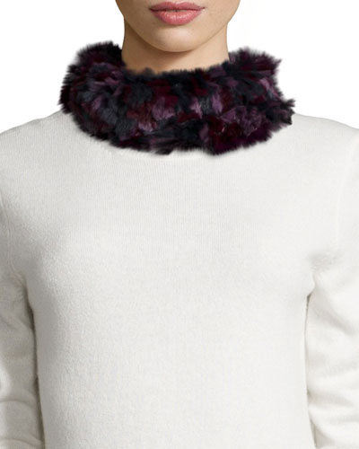 Knitted Rabbit Fur Funnel Scarf, Burgundy Camo