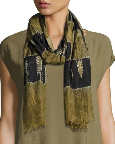Colorblocked Silk Shibori Scarf