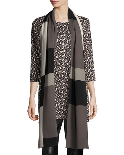 Blocks Georgette Scarf, Multi Black