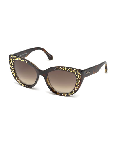 Studded Gradient Cat-Eye Sunglasses, Brown Tortoise