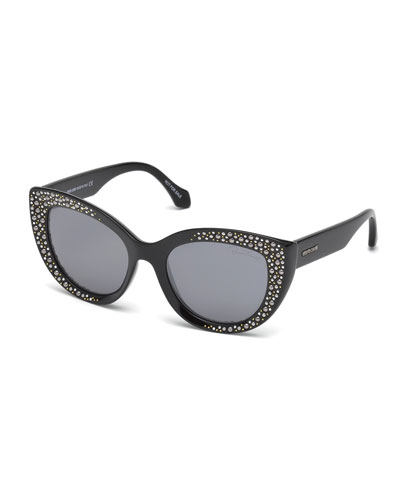 Studded Gradient Cat-Eye Sunglasses, Black