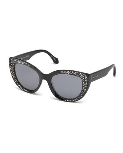Studded Gradient Cat-Eye Sunglasses, Black
