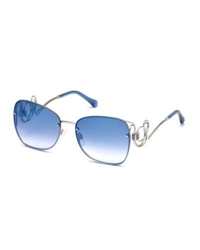 Rimless Square Swirl Sunglasses, Blue