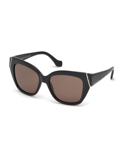 Plastic Polarized Cat-Eye Sunglasses, Black
