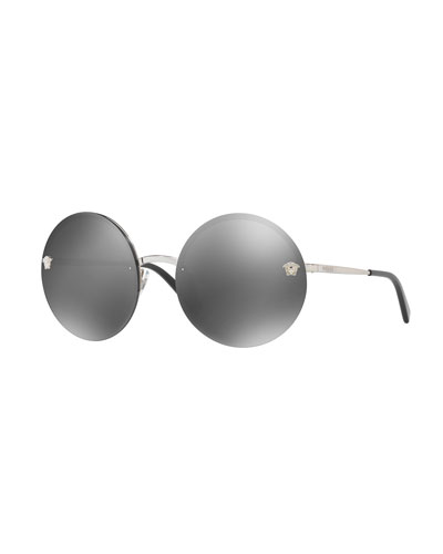 Rimless Round Mirrored Sunglasses, Gray