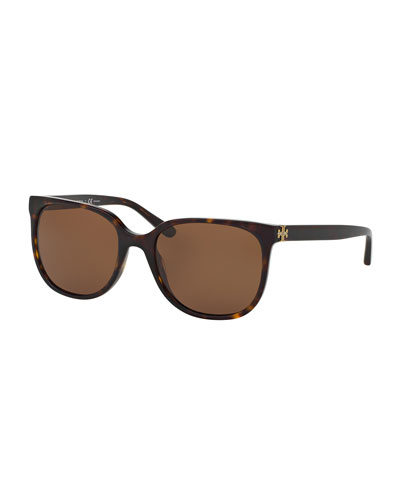 Slim Square Polarized Sunglasses, Brown Tortoise