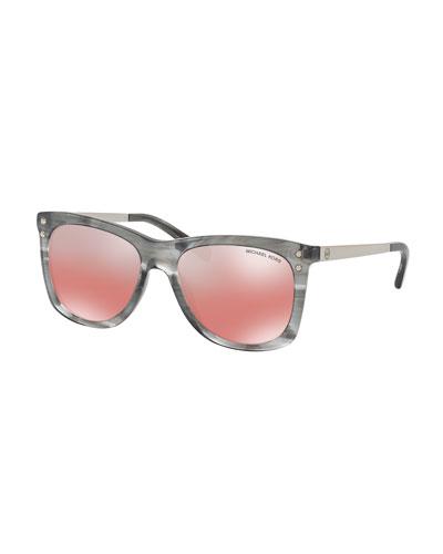 Mirrored Square Plastic Sunglasses, Gray