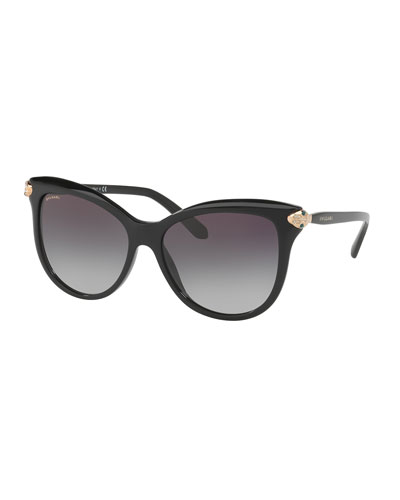 Serpenti Gradient Square Sunglasses, Black