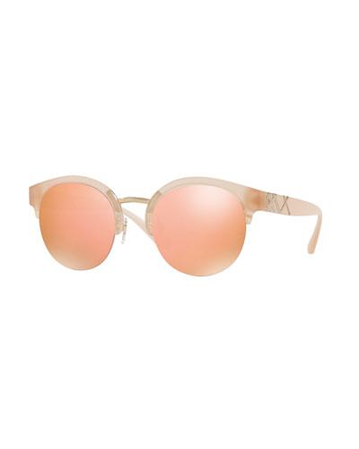 Round Mirrored Semi-Rimless Sunglasses
