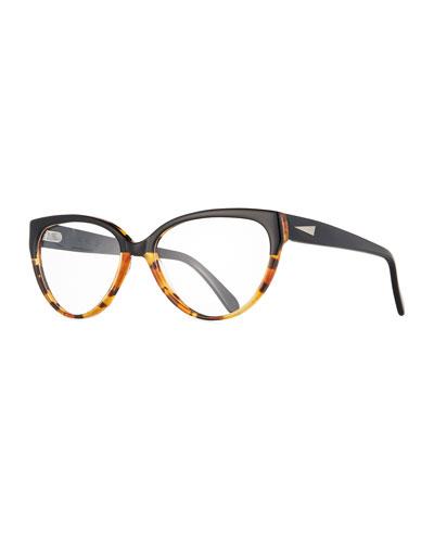 Cannes Cat-Eye Optical Frames, Black/Tortoise