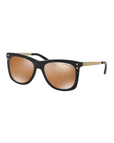 Mirrored Square Plastic Sunglasses, Black