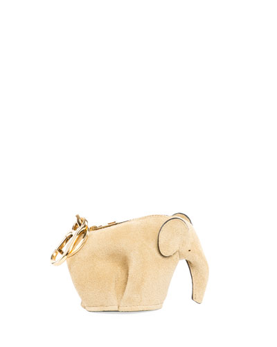 Suede Elephant Bag Charm/Coin Purse, Gold