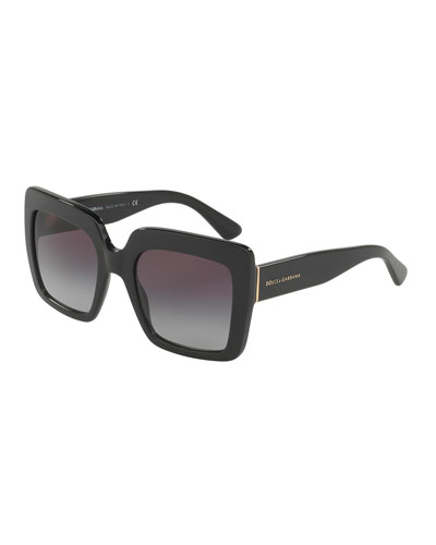 Chunky Square Gradient Sunglasses, Black
