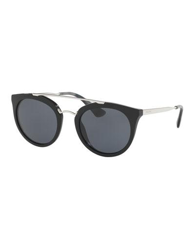 Monochromatic Double-Bridge Cat-Eye Sunglasses, Black