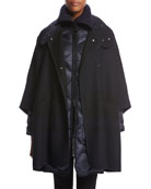 Dianthus Wool-Knit Cape W/ Puffer Jacket