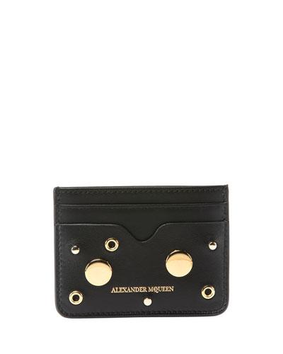 Golden Stud Zip Card Case