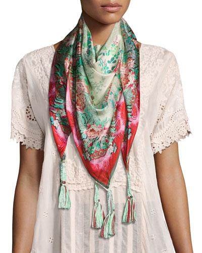 Whisper Printed Silk Tassel Scarf