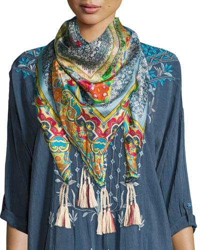 Karino Printed Silk Tassel Scarf