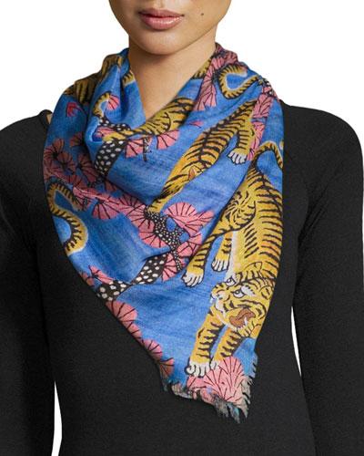 Flora Tiger Silk Scarf, Blue/Pink