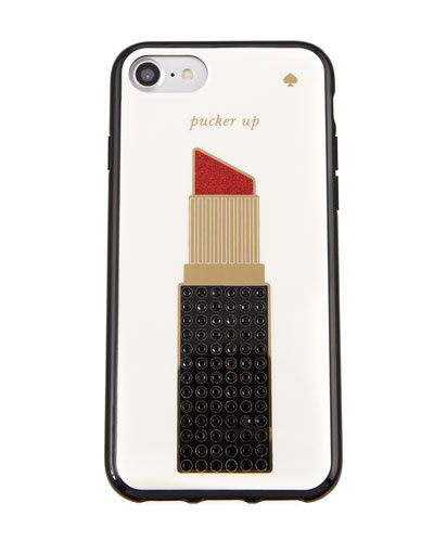 kate spade new york pucker up jeweled lipstick phone case