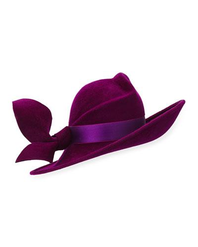 Velour Contour Hat w/ Satin Band