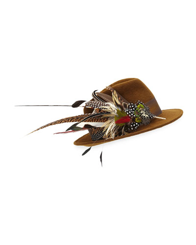 Wool Felt Fedora Hat w/ Feather Trim
