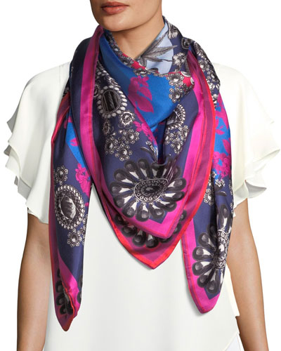 Gigi Double-Sided Printed Silk Scarf, Blue/Orange