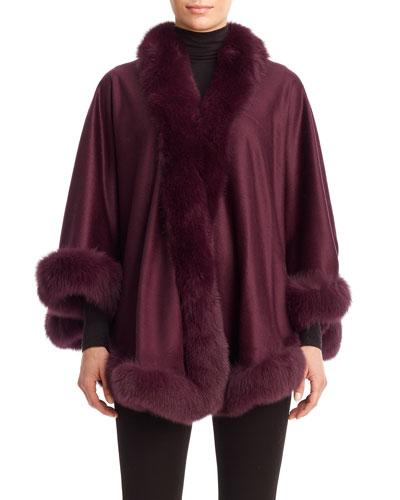 Cashmere Capelet with Fox Fur Trim