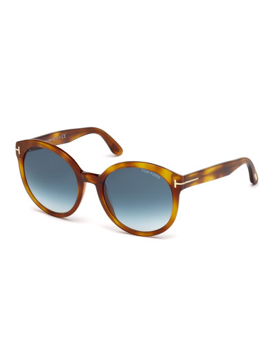 Philippa Round Cat-Eye Sunglasses, Blonde Havana