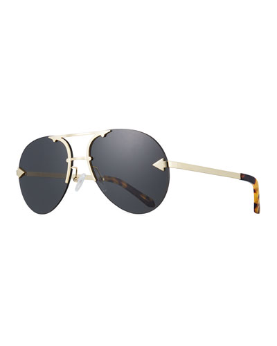 Love Hangover Semi-Rimless Aviator Sunglasses, Brown Pattern