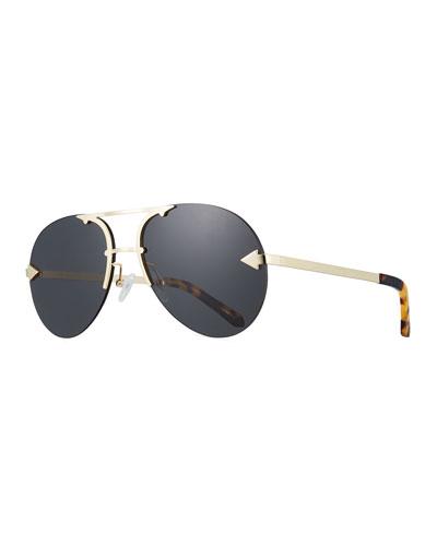 Love Hangover Semi-Rimless Aviator Sunglasses, Brown Pattern
