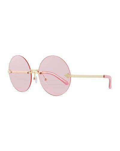 Disco Circus Rimless Round Sunglasses, Pink/Gold
