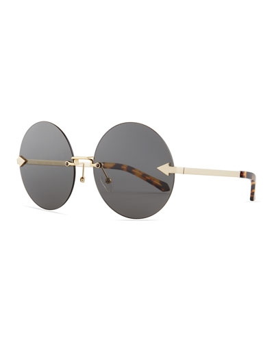 Disco Circus Rimless Round Sunglasses, Brown Pattern