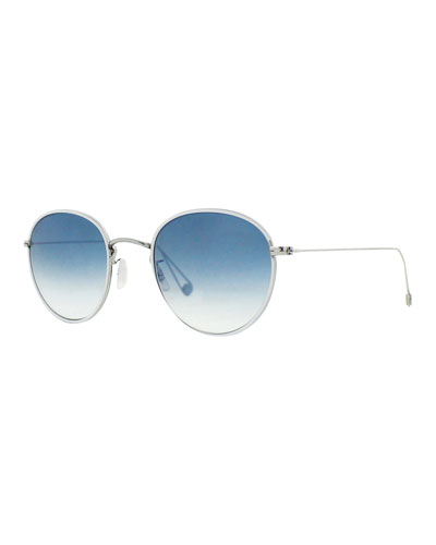 Paloma Round Gradient Sunglasses, Light Blue