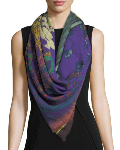 Floral-Stripe Wool-Silk Scarf