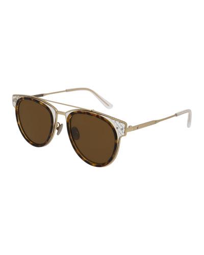 Cat-Eye Acetate Intrecciato Sunglasses, Brown