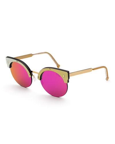 Era Semi-Rimless Cat-Eye Sunglasses