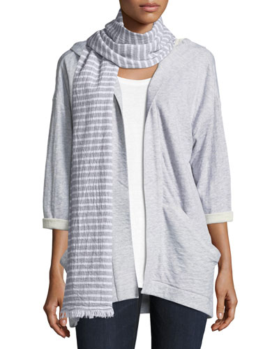 Textured Organic Cotton Striped Scarf