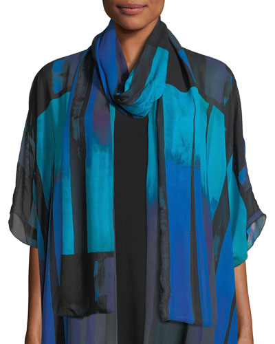 Double Layer Jewel-Tone Georgette Scarf
