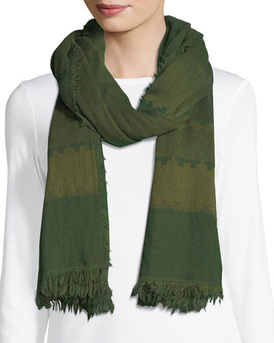 Geometric Striped Wool Scarf
