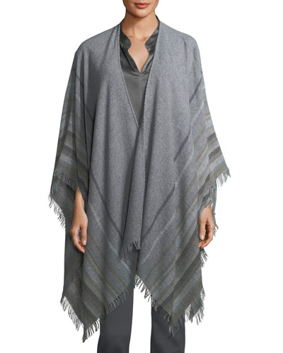 Striped Wool-Blend Poncho, Plus Size