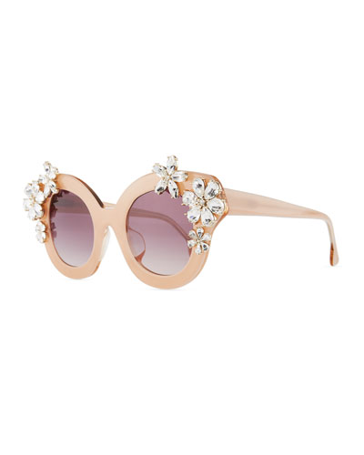 Madison Floral Swarovski® Cat-Eye Sunglasses, Blush